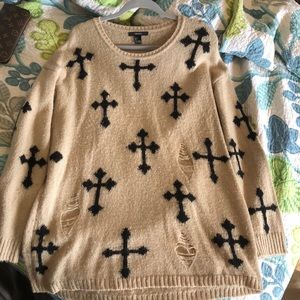 Tan Cross Sweater! Very lightly used!